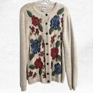 Vintage Alfred Dunner Embroidered Floral Cardigan